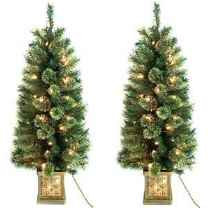 Holiday Time Pre Lit 4 Topiary Christmas Trees In Pots 2 Pack Clear Lights 50 Walmart Com Outdoor Christmas Outdoor Christmas Tree Holiday