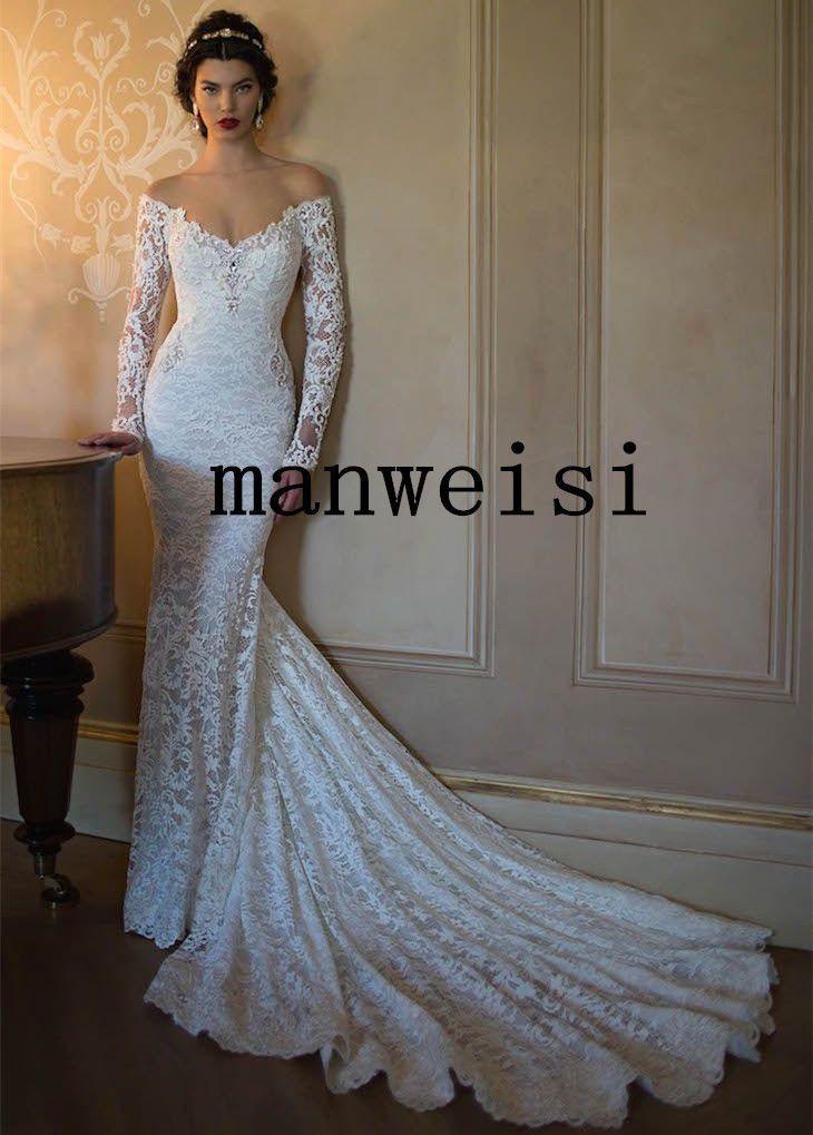 Long Sleeve Mermaid Off Shoulder Lace Bridal Wedding Dress Size 2 4 6 8 10 12