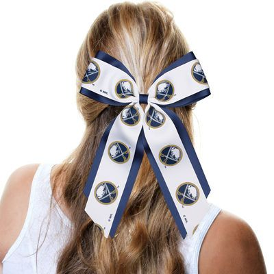 Buffalo Sabres hair bow that's perfect for an easy half-up half-down hairstyle!