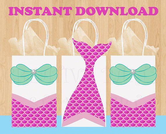 picture relating to Printable Gift Bags named Printable Purple Mermaid Occasion Choose Baggage/ Mermaid celebration