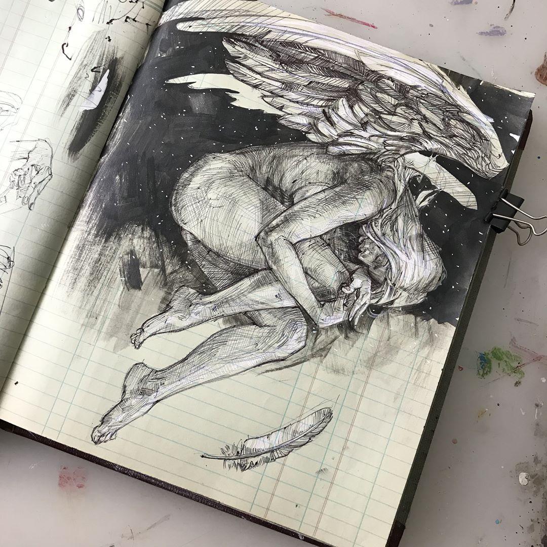 "Photo of Scott M Fischer on Instagram: ""Still shots of yesterday's #inktober video in main feed. #inktober2017 #angels #sketchbook"""