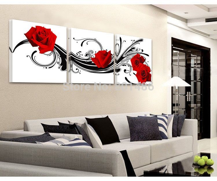 Large Size 3 Piece Black White And Red Roese Picture Modern Wall Art P Living Room Canvas 3 Panel Wall Art Modern Wall Art