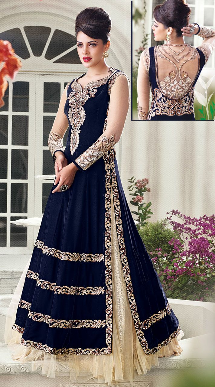 74e03408d5d Amazingly crafted dark blue and off white designer salwar kameez on velvet  and net material is beautified with resham