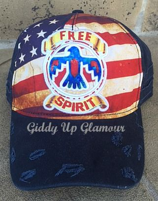 bf7a77d67a012e Distressed Free Spirit Flag Baseball Cap | Giddy Up Glamour ...