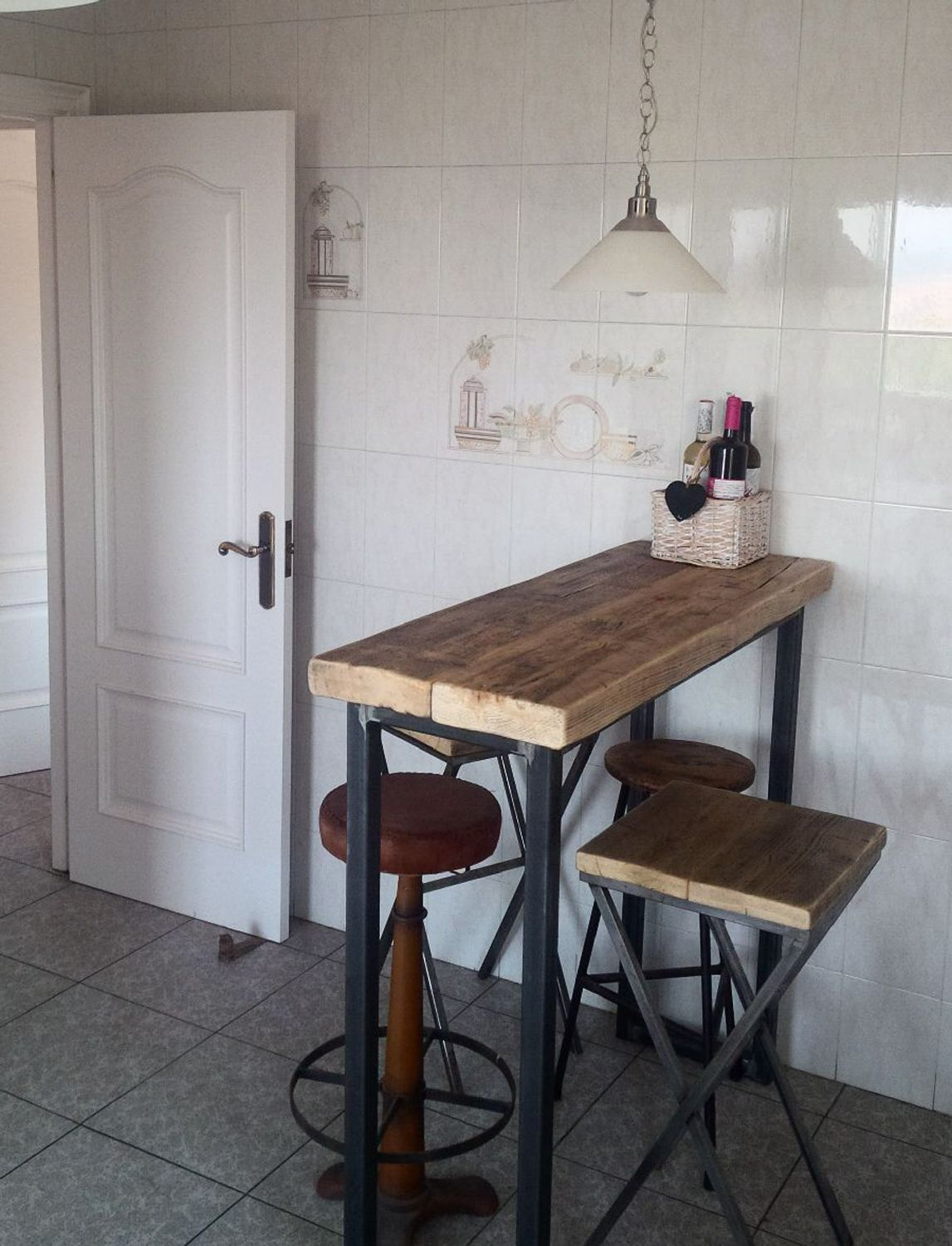 industrial mill style reclaimed wood breakfast bar + two stools