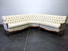Gentil Vintage 1960u0027s Era French Provincial Sectional Sofa   Ivory Brocade Fabric