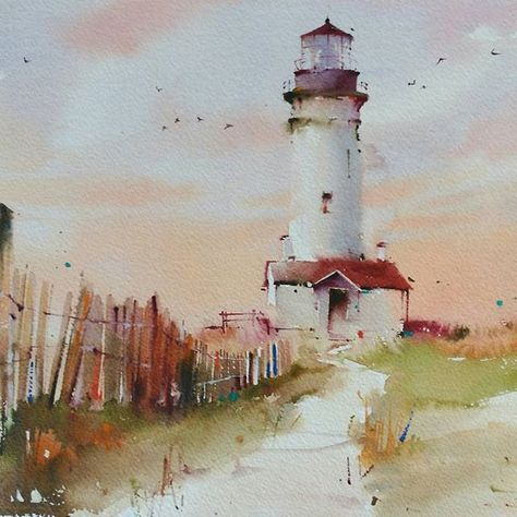 Camino Hacia El Faro Original Watercolor Watercolor Aquarelle