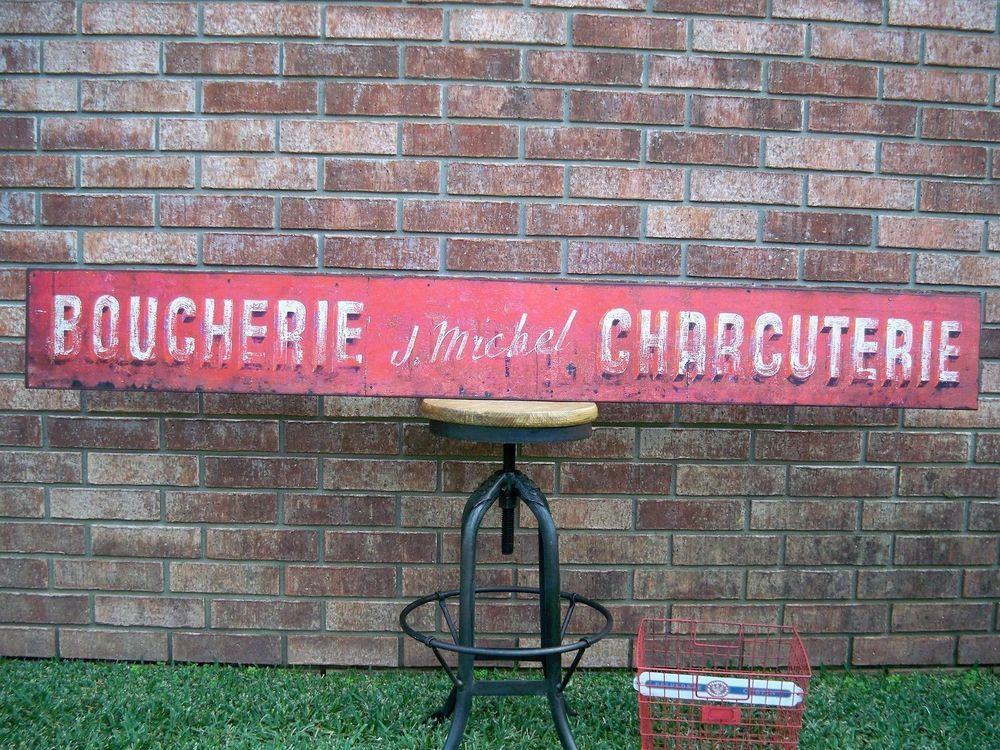 Vintage style Butcher Shop Boucherie J Michel Metal Sign French Franch Market