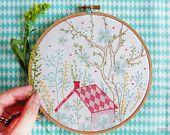 Embroidery wall art, House warming gift, New home gift - Dream House - Modern hand embroidery, Embroidery hoop art, diy kit, tree nursery