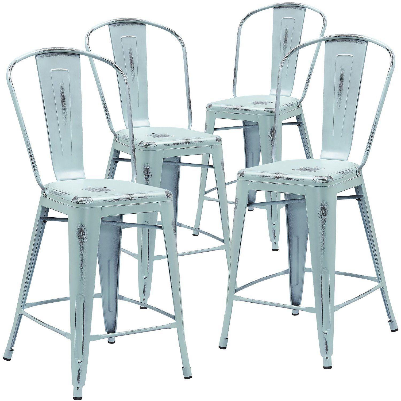 Amazon.com - Flash Furniture High Distressed Dream Metal Indoor ...