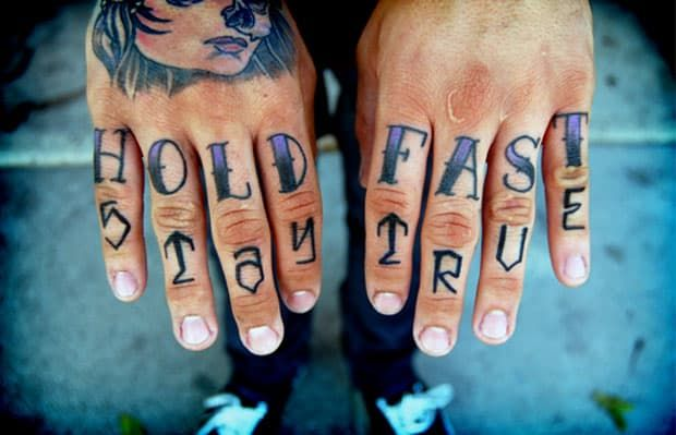 82cf4447f Hate Or Love? The 10 Best Knuckle Tattoos | Trash Polka | Hold fast ...