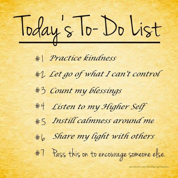 Todayu0027s to-do list practice kindness, count my blessings - another word for to do list