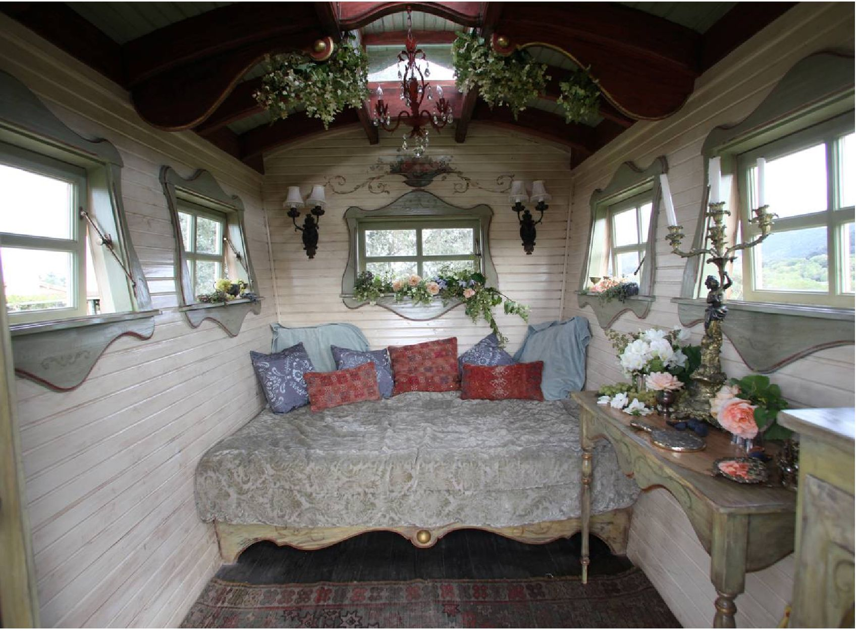 Gypsy caravan interior photo getting ready for the cec s gypsy caravan green gala adesso Diy caravan interior design ideas