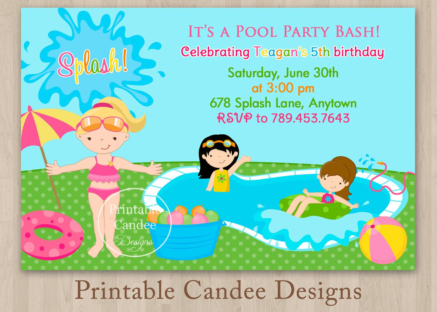Pool Party Invitations For Kids Free Printable | Pool party ...