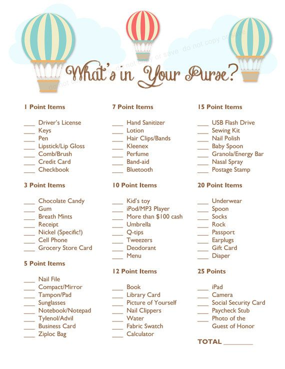 Instant Download   Whatu0027s In Your Purse Baby Shower Game   Hot Air Balloons    Printable