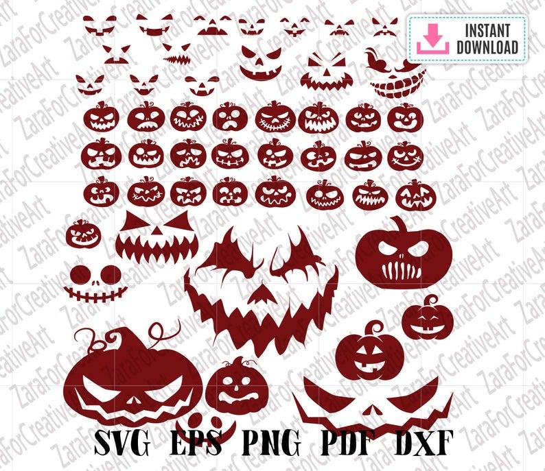 Pumpkin Faces Svg Halloween svg pumpkin Svg bundle