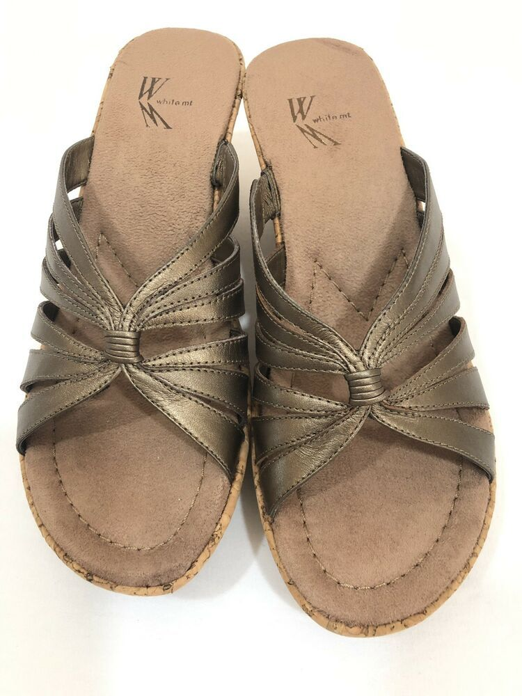 230620f4906b White Mountain Bronze Metallic Slip On Cork Wedge Platform Open Toe Sz 6.5   fashion  clothing  shoes  accessories  womensshoes  sandals (ebay link)