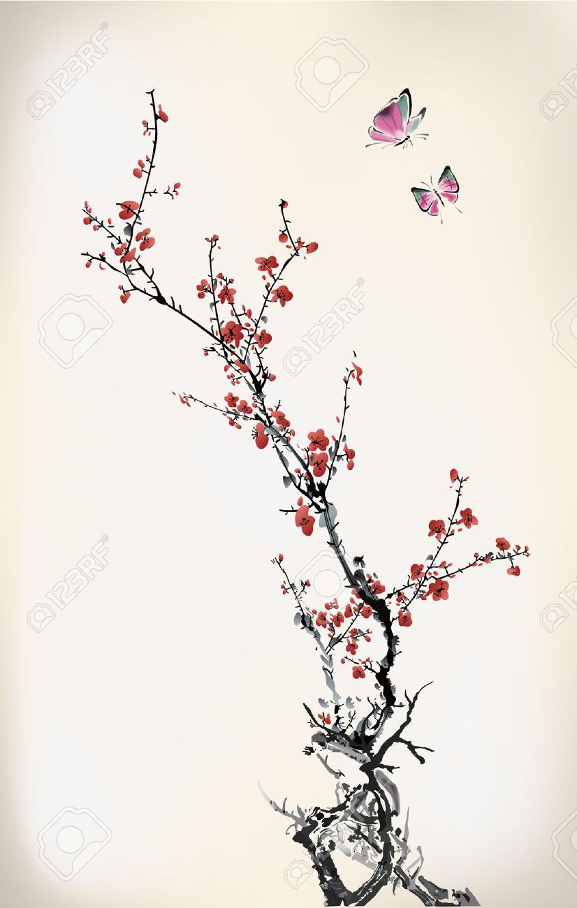 22222080-ink-winter-sweet-Stock-Vector-cherry-blossom-tree ...