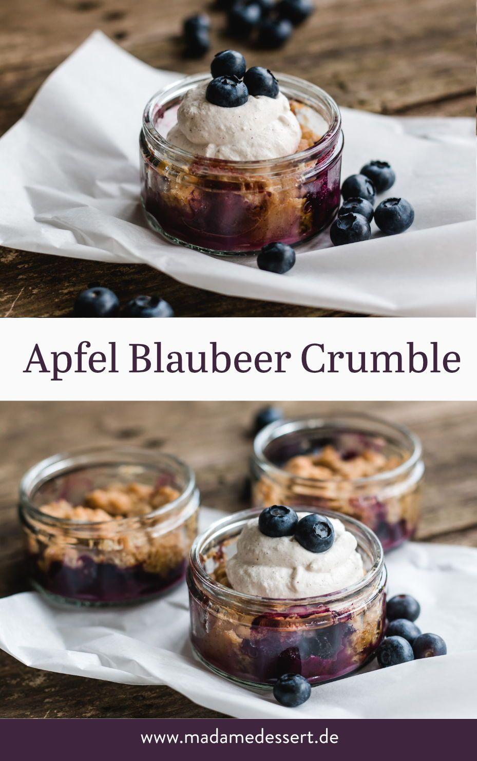 Herzerwärmender Apfel Blaubeer Crumble mit Vanillesahne | Madame Dessert #festmad