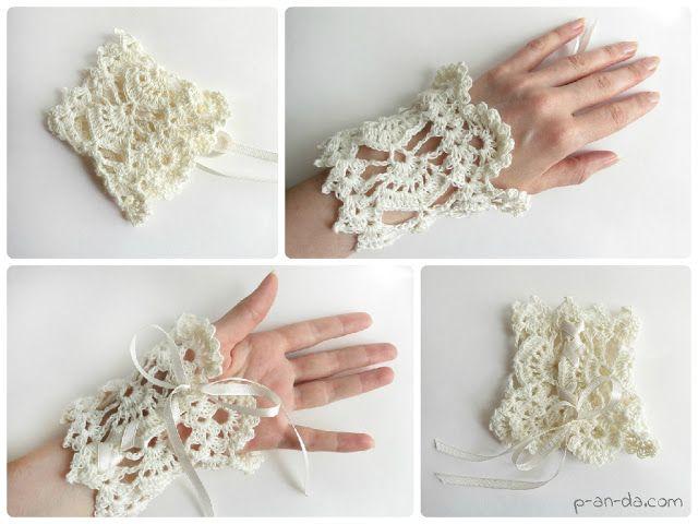 Crochet cuff bracelet Boho style free pdf pattern chart diagram ...