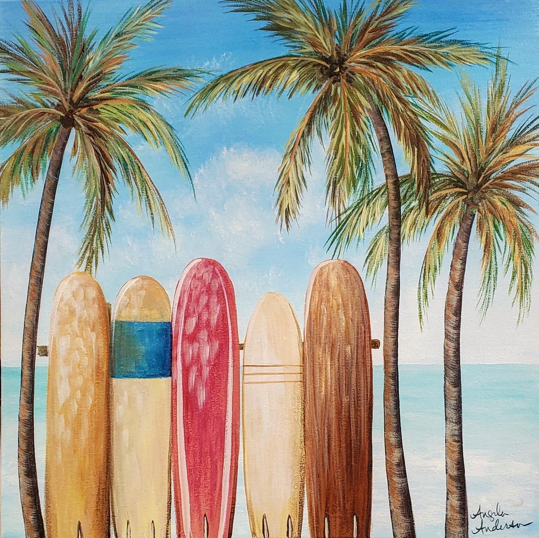 Easy Surfboard Beach Seascape - Free Painting Tutorial ...