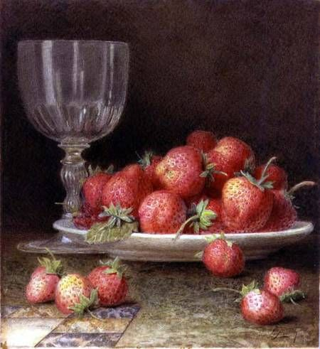 William B. Hough. Strawberries and a Glass