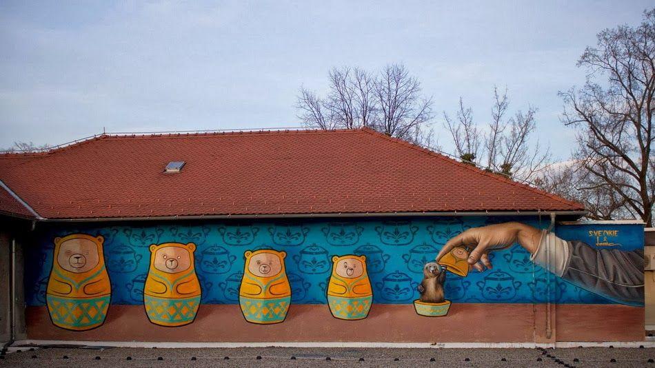 Lonac X Svenki Vidoviti Meduske New Mural Zagreb Croatia Streetartnews Street Art Street Art News Best Street Art