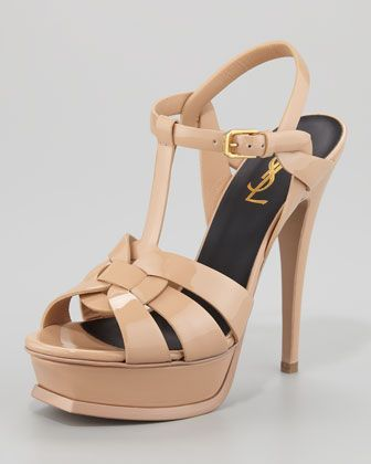 Yves Saint Laurent Leather Tribute Platform Sandals limited edition online Do36qkb