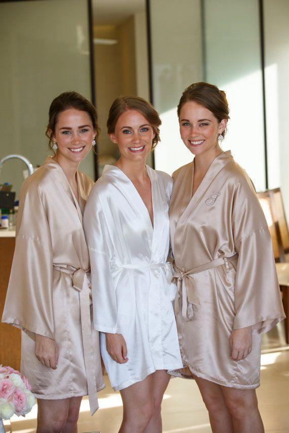 d257a1aad47e2 Bridesmaid robes Champagne wedding robes Beige bridesmaid silk robe ...