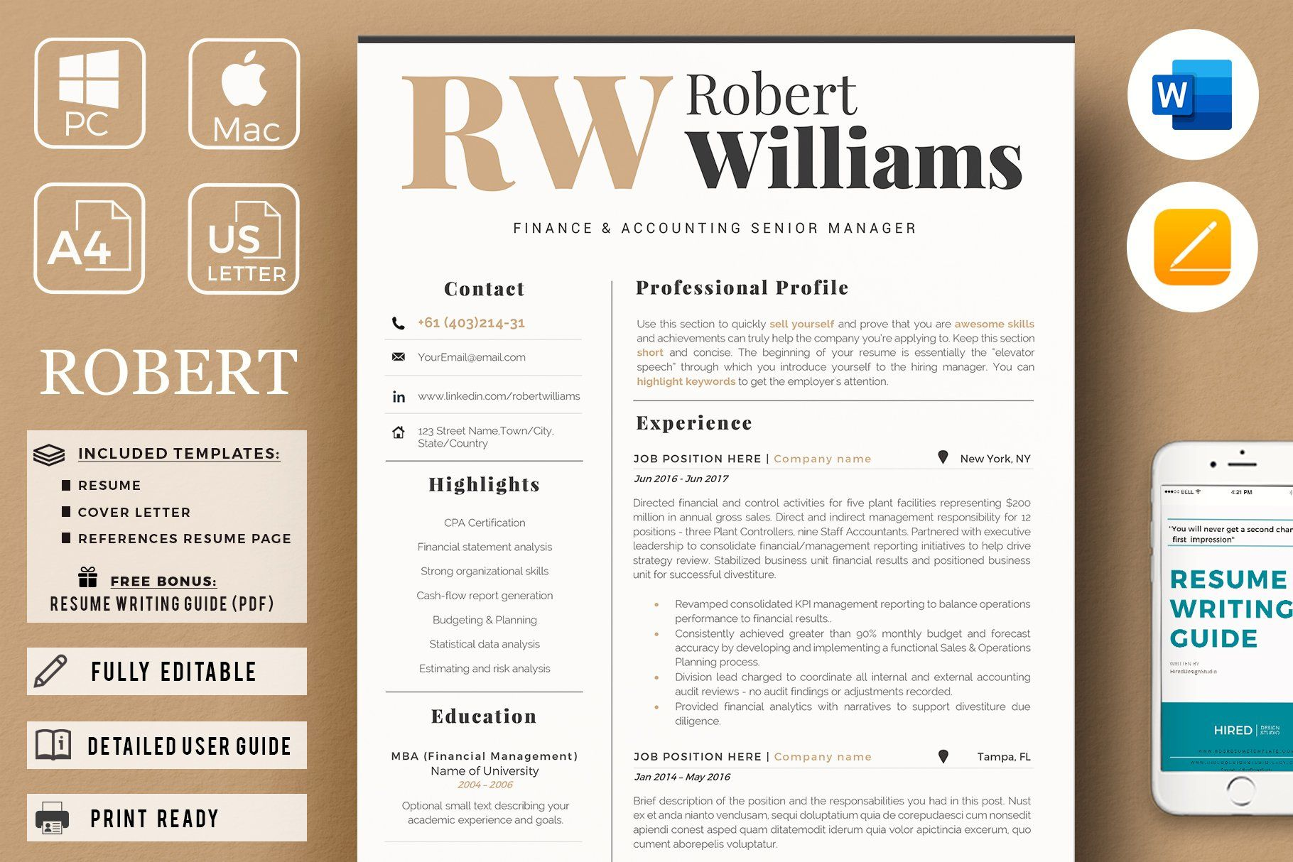 Accountant sales resume cover letter by hired design
