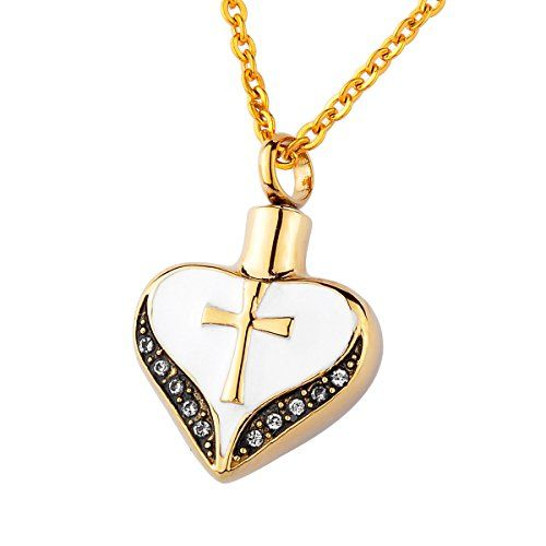 HooAMI Cremation Jewellery Gold Cross Heart Pendant ...