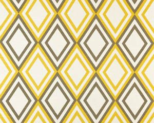14 inch throw pillow cover, Diamond print, yellow and white. Modern geometric pattern, bright print. For indoor use.