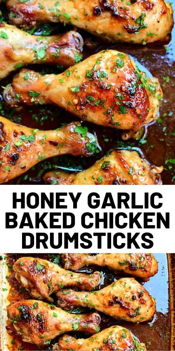 Honey Garlic Baked Chicken Drumsticks Drumstick Recipes Chicken Drumstick Recipes Chicken Recipes