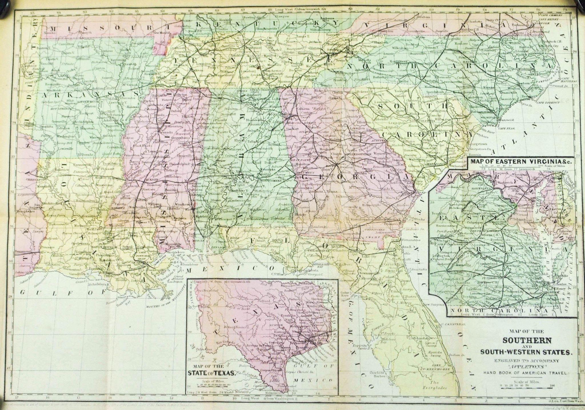 Florida Georgia Texas Louisiana Alabama Mississippi Antique Map - Us map 1867