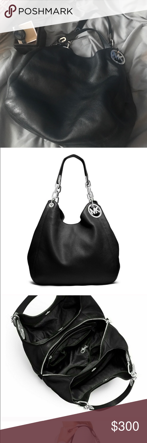 28cf368cc9 MK Black Fulton Large Hobo Bag. BEAUTIFUL!! Gorgeous Michael Kors Fulton  Hobo with silver hardware. Used only a few times. Michael Kors Bags Hobos