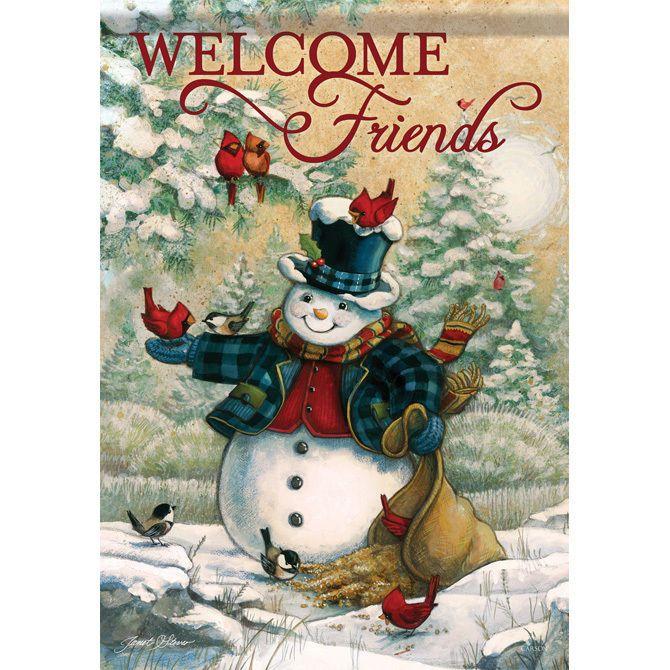 Welcome Friends Snowman Cardinal Christmas Winter Double Sided Garden Flag  13x18