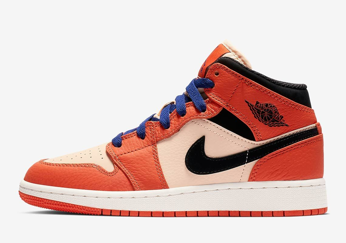 Air Jordan 1 Mid For Girls Appears In Team Orange  b4416c61d