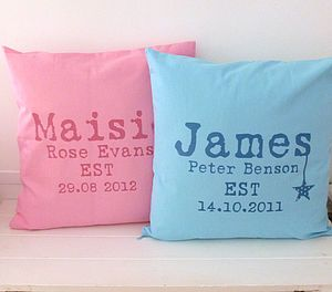 Girl's Or Boy's Personalised Cushion Cover - cushions