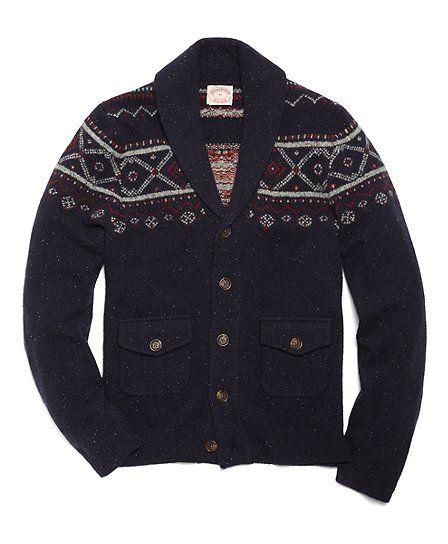 Brooks Brothers Wool Fair Isle Shawl Collar Cardigan | Style ...