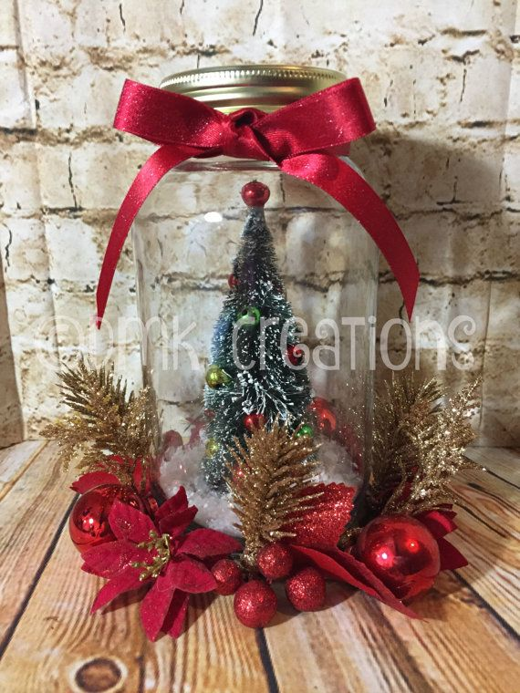 Mason Jar Christmas Tree Centerpiece, Christmas tree, mason jar, centerpiece, Christmas centerpiece, holiday, Christmas decoration, gift