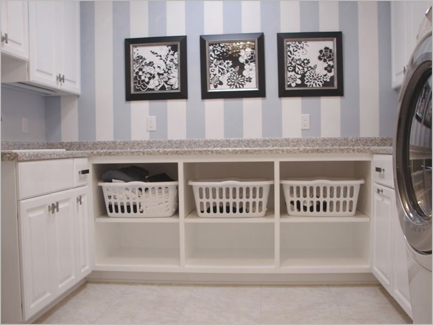 Laundry Room Decorating Ideas Take Off The Cupboards And Slide Baskets In Part 88