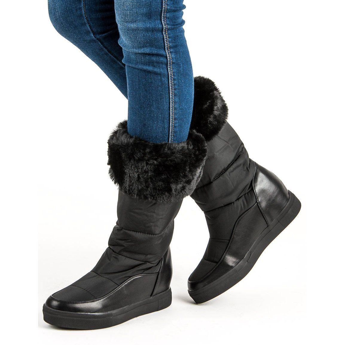 Sniegowce Damskie Seastar Seastar Czarne Sniegowce Z Futerkiem Shoes Winter Boot Boots