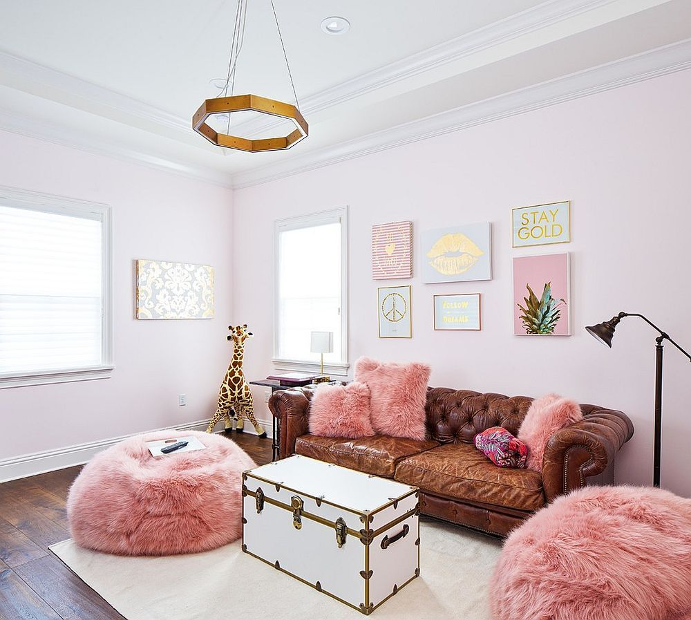 A Color Surprise Beautiful Pink Living Room Ideas That Bring Cheer And Freshness Pink Living Room Eclectic Living Room Mid Century Living Room #plush #living #room #sets