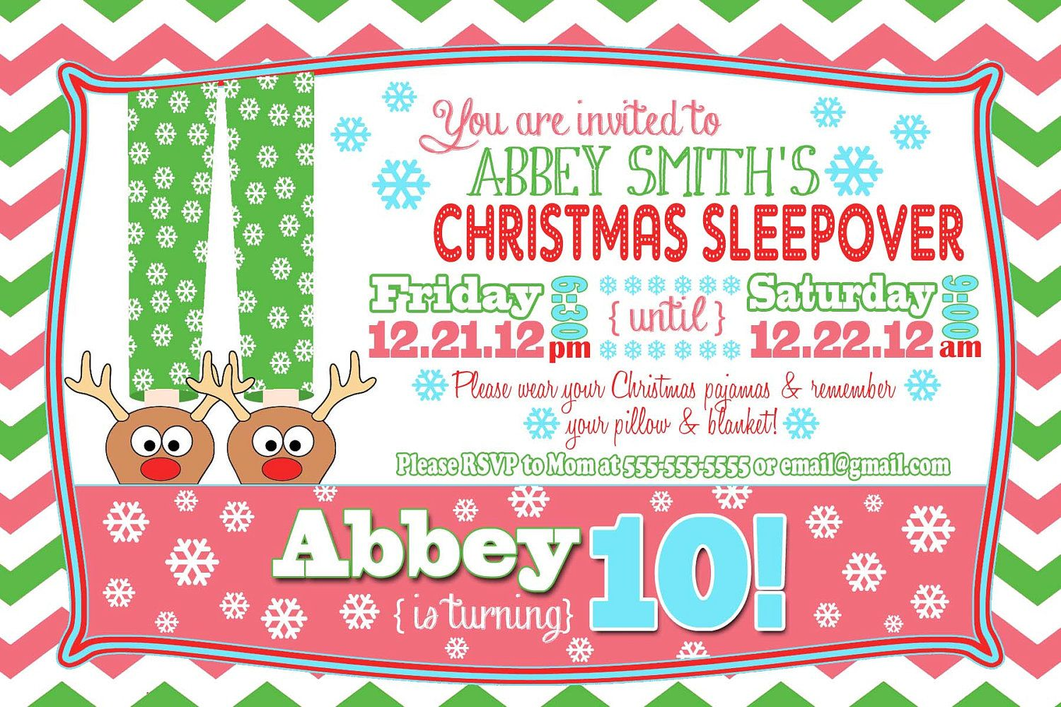 Custom Christmas Party Sleepover Invitation | Sleepover ...
