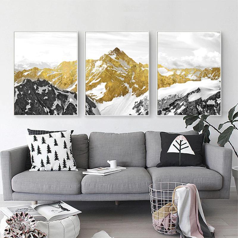 Golden Mountain Wilderness Wall Art Semi Abstract Mystical Landscape Mountain Wall Art Wall Canvas Landscape Wall Art