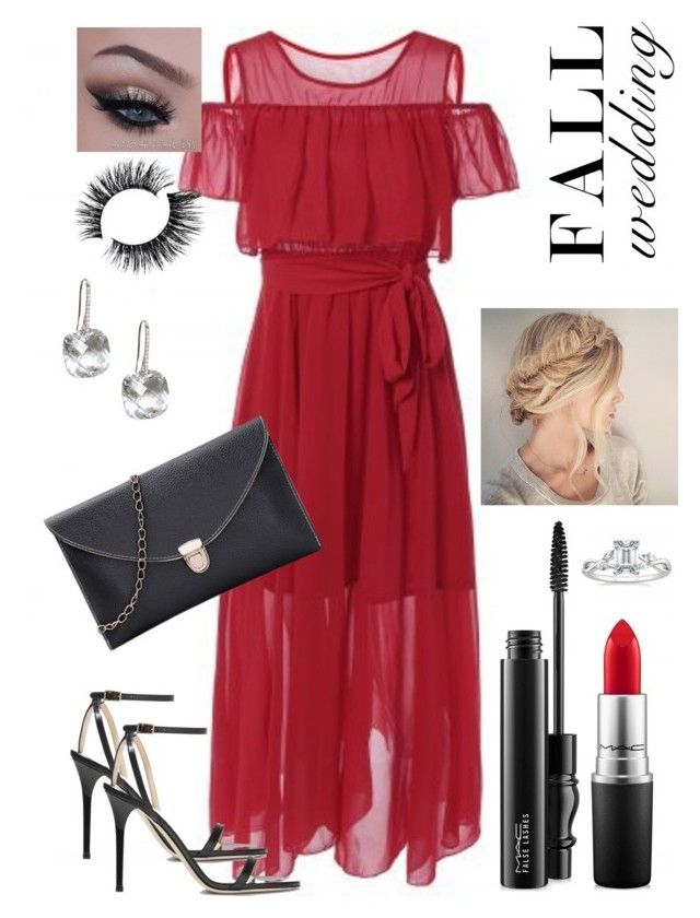 """Fall wedding V"" by staceybuijs ❤ liked on Polyvore featuring Jimmy Choo, MAC Cosmetics and fallwedding"