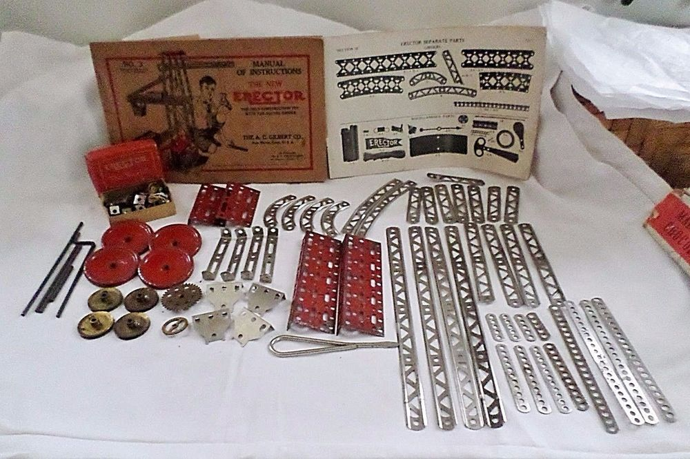 Vintage Gilbert Erector Set No 3 1929 W Manual Lots Of Parts