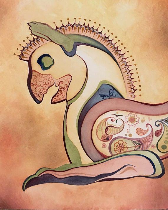 Persian Homa Bird Painting Persepolis Watercolor Persian Etsy Birds Painting Ancient Persian Painting
