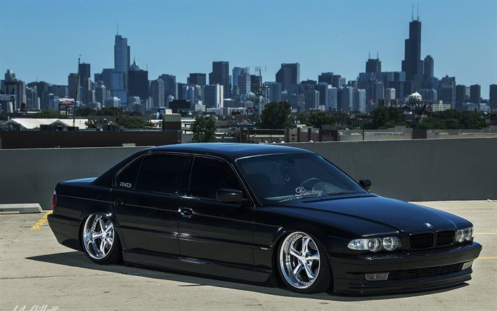 Download Wallpapers Bmw 7 Black Bmw E38 Chicago Stance Tuning