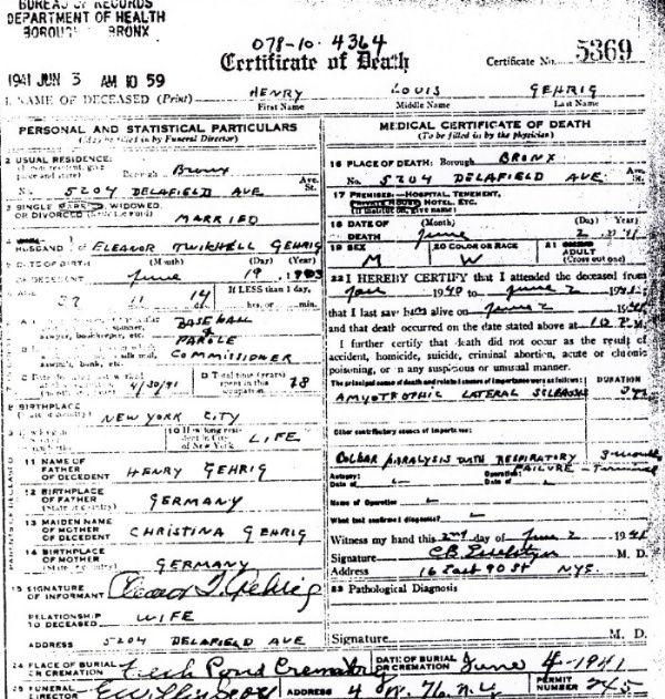 Copy of Lou Gehrig\'s death certificate | Lou Gehrig | Pinterest ...